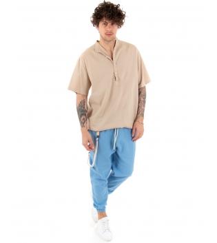 Outfit Uomo Camicia Casacca Pantalone Lino Casual Celeste Beige GIOSAL-Beige-S