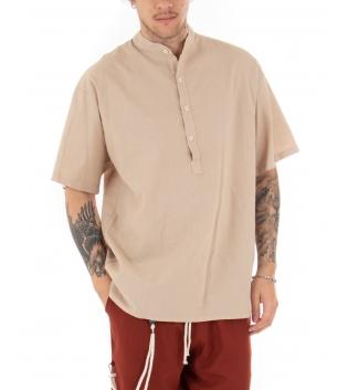 Outfit Uomo Camicia Casacca Pantalone Lino Casual Celeste Beige GIOSAL