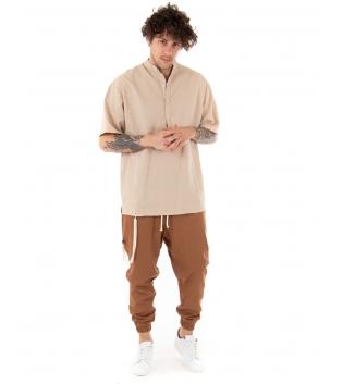 Outfit Uomo Camicia Casacca Pantalone Lino Casual Beige Camel GIOSAL-Beige-S