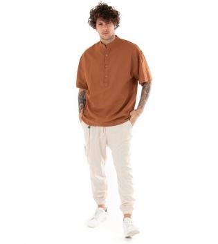 Outfit Uomo Camicia Casacca Pantalone Lino Casual Camel Beige GIOSAL-Camel-S