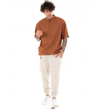 Outfit Uomo Camicia Casacca Pantalone Lino Casual Camel Beige GIOSAL