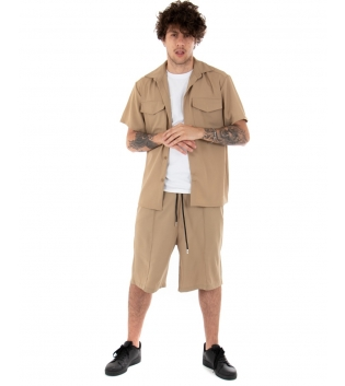 Outfit Uomo Completo Camicia Bermuda Tinta Unita Camel Colletto Casual GIOSAL-Camel-S