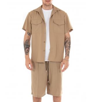 Outfit Uomo Completo Camicia Bermuda Tinta Unita Camel Colletto Casual GIOSAL