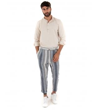 Outfit Uomo Camicia Beige Paul Barrell Pantalone Rigato Multicolore GIOSAL-Beige-S