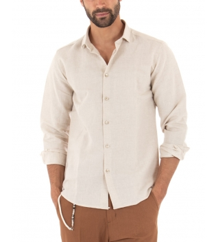 Outfit Uomo Camicia Colletto Beige Paul Barrell Pantalone Rigato Casual GIOSAL