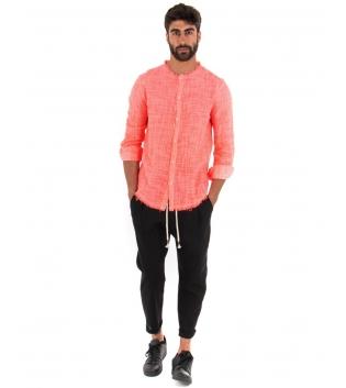 Outfit Uomo Camicia Corallo Fluo Pantalone Nero Elastico Lino Casual GIOSAL