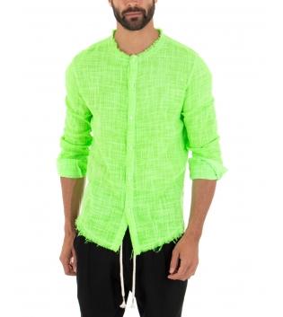 Outfit Uomo Camicia Verde Fluo Pantalone Nero Elastico Lino Casual GIOSAL