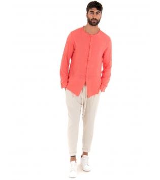 Outfit Uomo Camicia Corallo Fluo Pantalone Beige Elastico Lino Casual GIOSAL