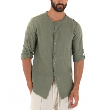 Outfit Uomo Camicia Verde Pantalone Beige Elastico Lino Casual GIOSAL
