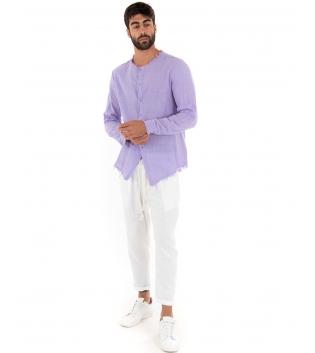 Outfit Uomo Camicia Lilla Pantalone Bianco Elastico Lino Casual GIOSAL