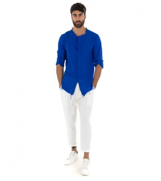 Outfit Uomo Camicia Blu Royal Pantalone Bianco Elastico Lino Casual GIOSAL