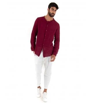 Outfit Uomo Camicia Borderaux Pantalone Bianco Elastico Lino Casual GIOSAL
