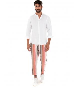 Outfit Uomo Camicia Collo Coreano Bianca Paul Barrell Pantalone Rigato Casual GIOSAL