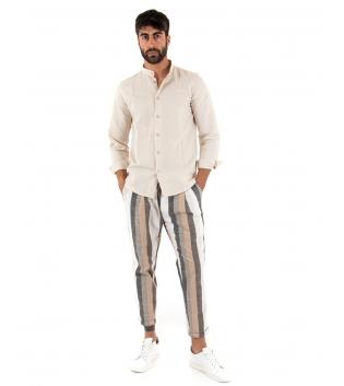 Outfit Uomo Camicia Collo Coreano Beige Paul Barrell Pantalone Rigato Casual GIOSAL-Beige-S