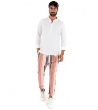 Outfit Uomo Camicia Mezzo Bottone Bianco Paul Barrell Pantalone Rigato Casual GIOSAL