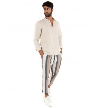 Outfit Uomo Camicia Mezzo Bottone Beige Paul Barrell Pantalone Rigato Casual GIOSAL-Beige-S