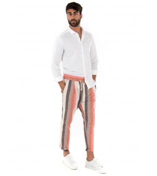 Outfit Uomo Camicia Colletto Bianca Paul Barrell Pantalone Rigato Casual GIOSAL