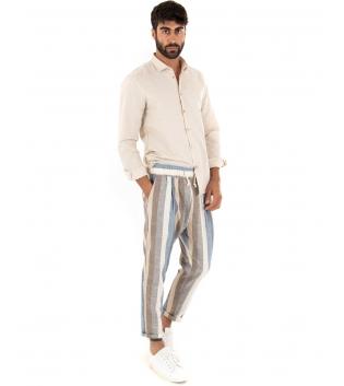 Outfit Uomo Camicia Colletto Beige Paul Barrell Pantalone Rigato Casual GIOSAL-Beige-S