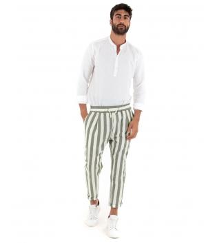 Outfit Uomo Camicia Bianca Pantalone Paul Barrell Rigato Verde Casual Sartoriale GIOSAL