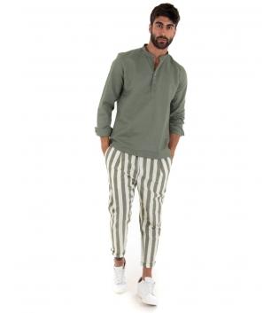 Outfit Uomo Camicia Verde Pantalone Paul Barrell Rigato Verde Casual Sartoriale GIOSAL
