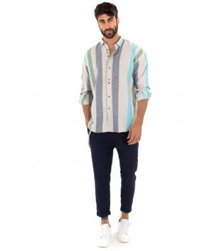 Outfit Uomo Camicia Rigata Multicolore Pantalone Blu Paul Barrell Artigianale GIOSAL