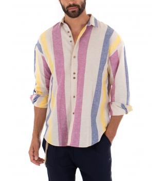 Outfit Uomo Camicia Rigata Multicolore Rosa Pantalone Blu Paul Barrell Artigianale GIOSAL
