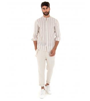 Outfit Uomo Completo Camicia Rigata Pantalone Beige Paul Barrell Casual GIOSAL-Beige-S