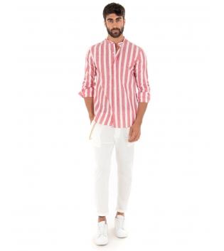Outfit Uomo Camicia Rigata Rosso Pantalone Bianco Paul Barrell Artigianale GIOSAL-Rosso-S