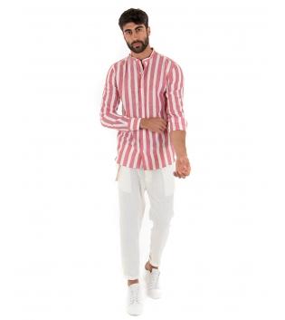 Outfit Uomo Camicia Rigata Rosso Pantalone Bianco Paul Barrell Artigianale GIOSAL