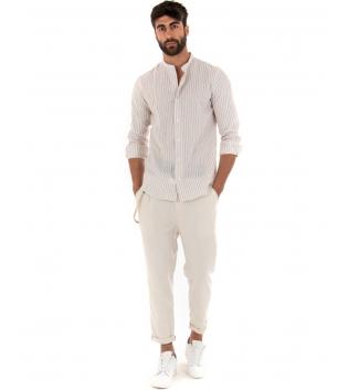 Outfit Uomo Camicia Riga Stretta Beige Pantalone Paul Barrell Artigianale GIOSAL-Beige-S