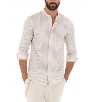 Outfit Uomo Camicia Riga Stretta Beige Pantalone Paul Barrell Artigianale GIOSAL