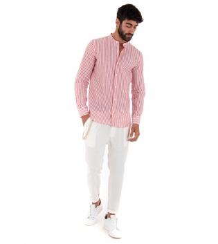 Outfit Uomo Camicia Riga Stretta Rossa Pantalone Bianco Paul Barrell Artigianale GIOSAL-Rosso-S