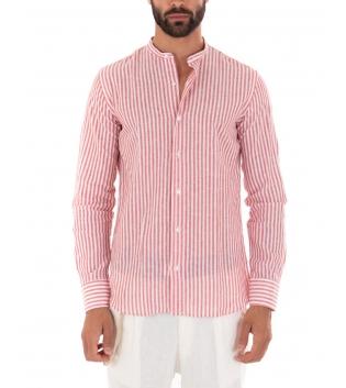 Outfit Uomo Camicia Riga Stretta Rossa Pantalone Bianco Paul Barrell Artigianale GIOSAL