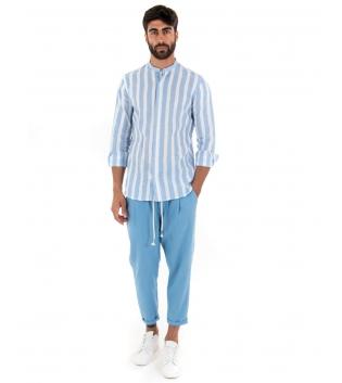 Outfit Uomo Camicia Rigata Pantalone Azzurro Paul Barrell Artigianale GIOSAL-Azzurro-S