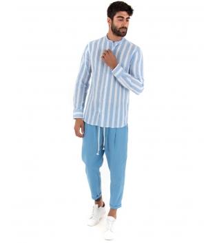 Outfit Uomo Camicia Rigata Pantalone Azzurro Paul Barrell Artigianale GIOSAL