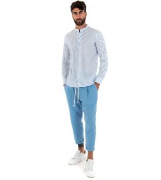 Outfit Uomo Camicia Rigata Azzurro Pantalone Tinta Unita Paul Barrell Artigianale GIOSAL-Azzurro-S