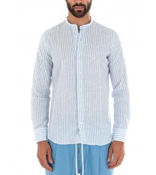 Outfit Uomo Camicia Rigata Azzurro Pantalone Tinta Unita Paul Barrell Artigianale GIOSAL