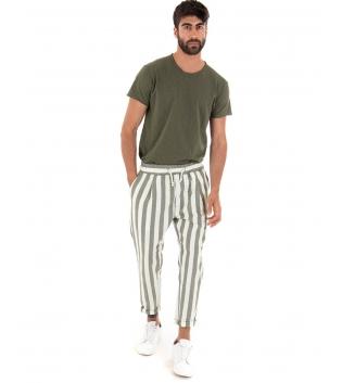 Outfit Uomo T-shirt Verde Cotone Pantalone Rigato Paul Barell Elastico Lino GIOSAL