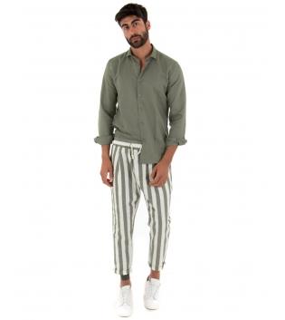 Outfit Uomo Paul Barrell Lino Verde Camicia Colletto Pantalone Rigato Elastico Completo Casual GIOSAL-Verde-S