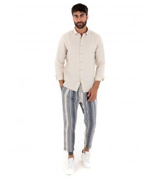 Outfit Uomo Paul Barrell Lino Beige Camicia Colletto Pantalone Rigato Elastico Completo Casual GIOSAL-Beige-S