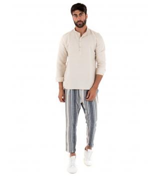 Completo Uomo Outfit Camicia Collo Coreano Mezzo Bottone Pantalone Rigato Elastico Paul Barrell GIOSAL-Beige-S