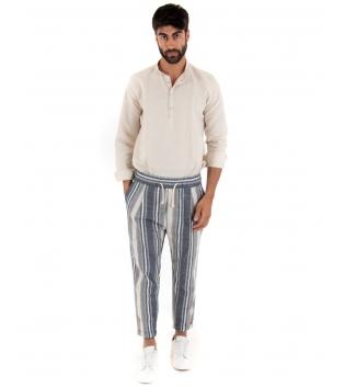 Completo Uomo Outfit Camicia Collo Coreano Mezzo Bottone Pantalone Rigato Elastico Paul Barrell GIOSAL