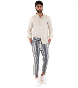 Outfit Uomo Camicia Collo Coreano Pantalone Rigato Elastico Beige Completo Casual Paul Barrell Lino GIOSAL-Beige-S