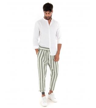 Outfit Uomo Camicia Collo Coreano Pantalone Rigato Elastico Verde Completo Casual Paul Barrell Lino GIOSAL-Verde-S