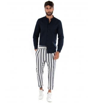 Outfit Uomo Camicia Collo Coreano Pantalone Rigato Elastico Blu Completo Casual Paul Barrell Lino GIOSAL