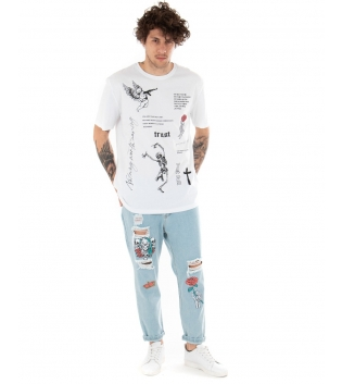 Outfit Uomo Completo T-Shirt Bianca Jeans Catena Stampa Scritte Cinque Tasche Casual GIOSAL