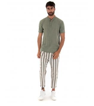 Outfit Uomo T-shirt Bottoni Pantalone Rigato Verde Paul Barell Artigianale GIOSAL-Verde-S