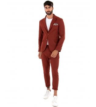 Outfit Uomo Giacca Pantalone Lino Paul Barrell Tinta Unita Mattone Elegante GIOSAL