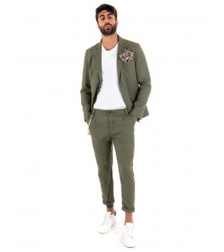 Outfit Uomo Giacca Pantalone Lino Paul Barrell Tinta Unita Verde Elegante GIOSAL-Verde-44