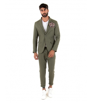 Outfit Uomo Giacca Pantalone Lino Paul Barrell Tinta Unita Verde Elegante GIOSAL